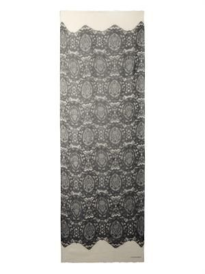 Lace and skull-print cotton scarf