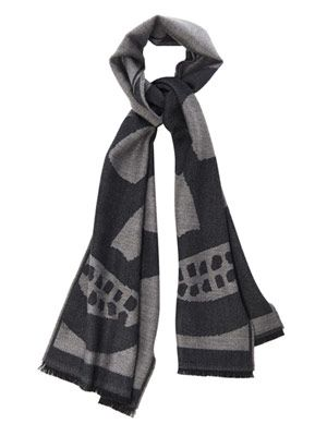 Abstract skull wool scarf