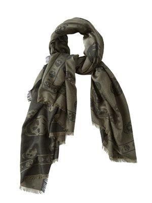 Skull-print fine-knit scarf