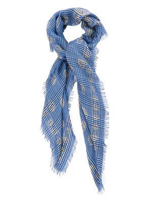Checked skull-print scarf