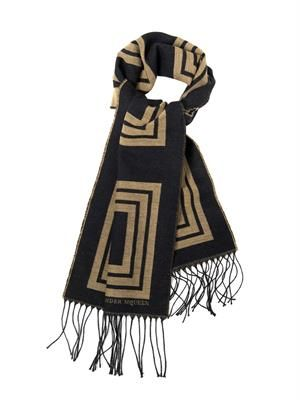 Golden-square wool-blend scarf