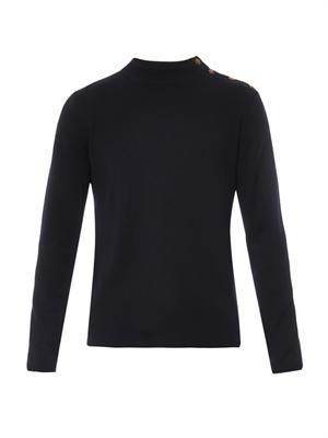 Navy wool-blend sweater