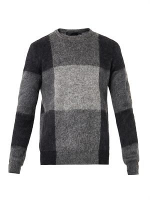 Checked mohair and wool-blend sweater