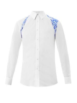 Lace-print harness cotton shirt