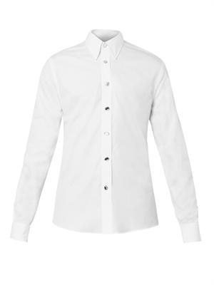 Crystal-button cotton shirt