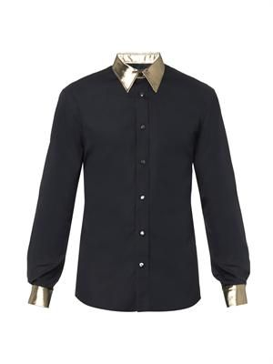 Metallic-collar and cuffs shirt