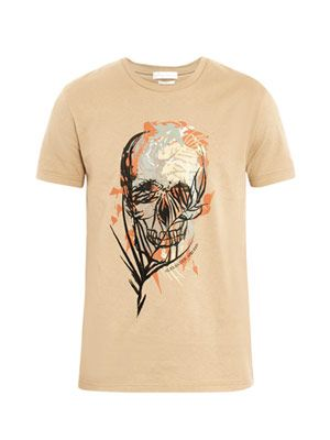 Skull and palm-print T-shirt