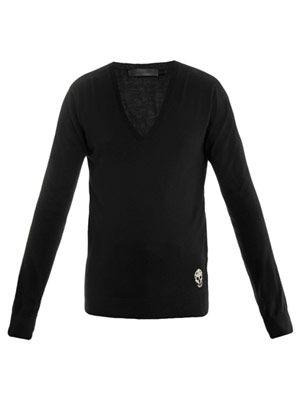 Skull V-neck sweater