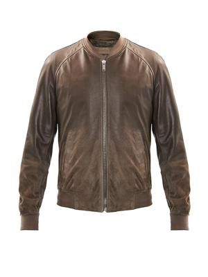 Leather to suede ombré jacket