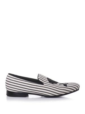 Embroidered striped canvas loafers
