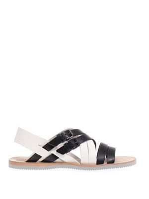 Contrast strap leather sandals