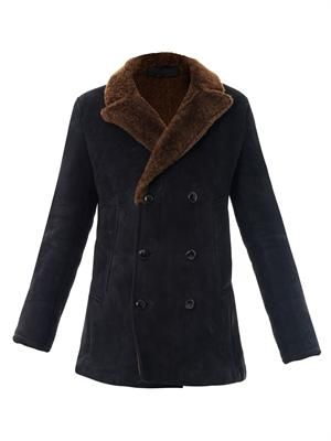 Shearling and leather double breasted coat