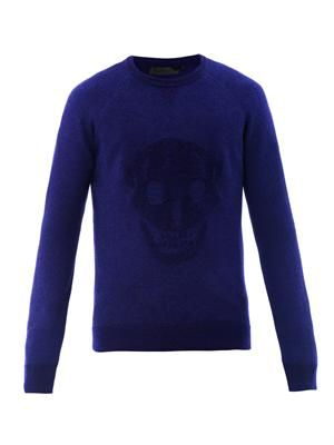 Intarsia knit skull sweater