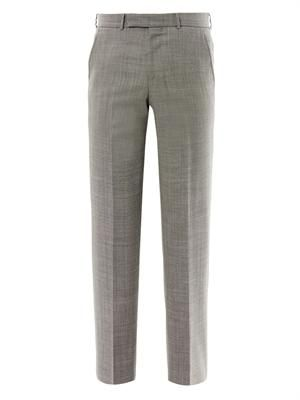 Bird's-eye weave wool trousers