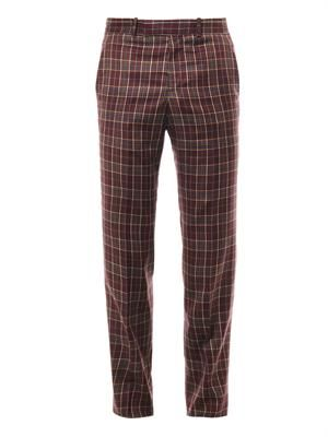 Check wool-twill trousers