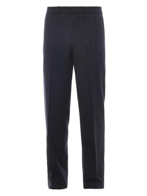 Pinstripe wool and cashmere-blend trousers