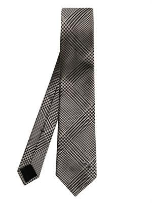 Houndstooth check silk tie