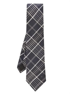 Oversized-check jacquard silk tie