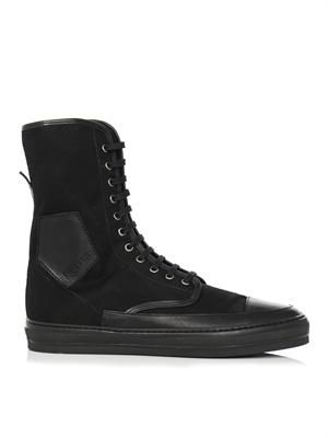 Leather-trim high top trainers
