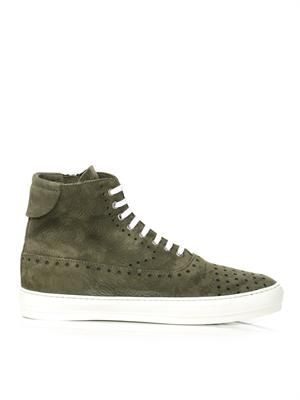 Perforated suede high top trainers