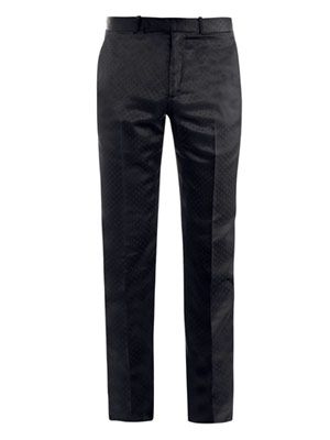 Satin jacquard trousers