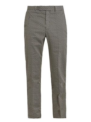 Basket weave print trousers