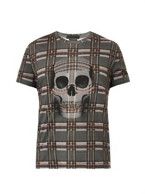 Check and skull-print T-shirt