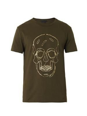 Zipper skull-print T-shirt