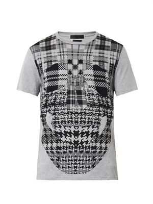 Checked skull-print T-shirt