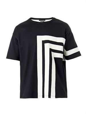 Appliqué striped jersey T-shirt