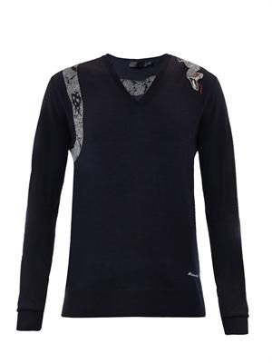 Snake embroidered V-neck sweater