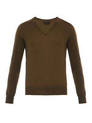 V-neck cashmere-knit sweater