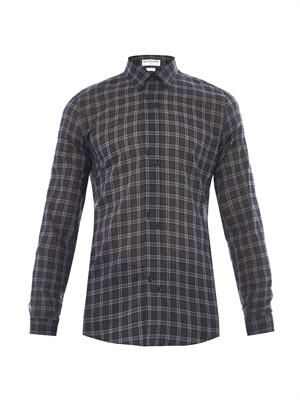 Windowpane-check cotton shirt