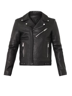 Grained-leather biker jacket