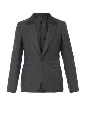 Contrast-lapel wool blazer