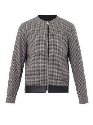 Gingham-check seersucker bomber jacket