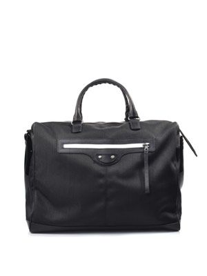 Frame nylon and leather tote