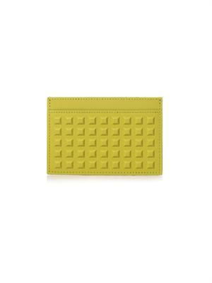 Grid square leather card holder