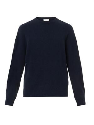 Oversized navy wool-blend sweater