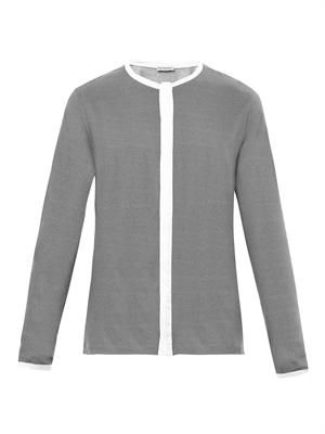 Graphic micro-weave crew-neck shirt