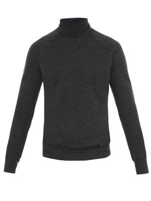 Zigzag seam roll-neck jumper