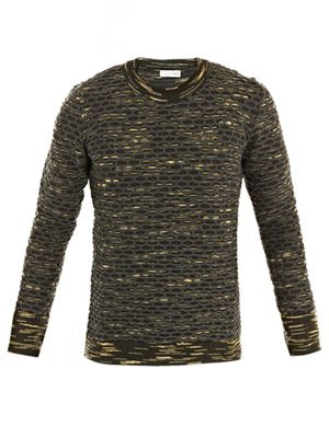 Camo honeycomb knit sweater