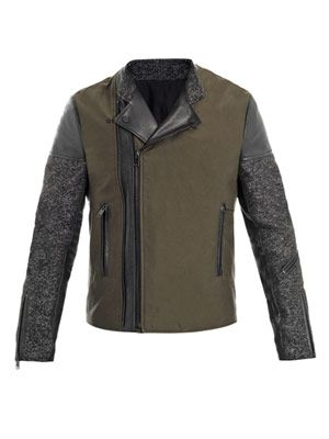 Tweed and leather biker jacket