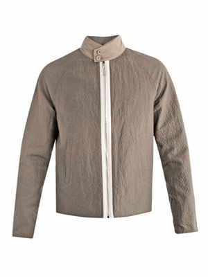 Silk-blend seersucker bomber jacket