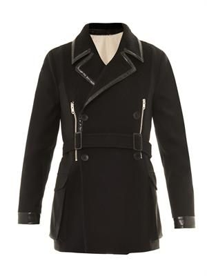 Wool panel leather-trimmed coat
