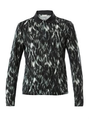 Fur-print polo top