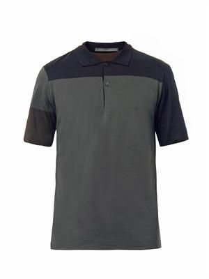 Tri colour two button polo top