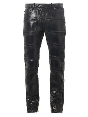 Plissé shine-coated denim jeans