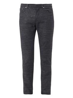 Tweed slim-leg denim jeans