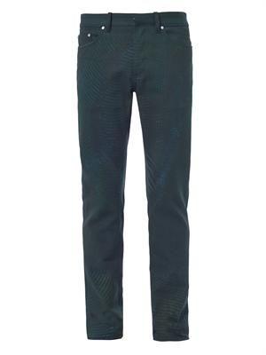 Snake-print straight-leg jeans